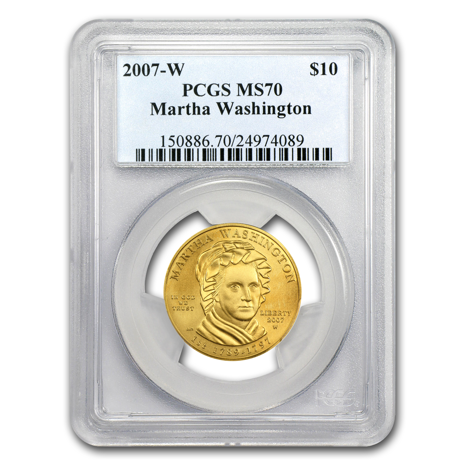 2007-W 1/2 oz Gold Martha Washington MS-70 PCGS